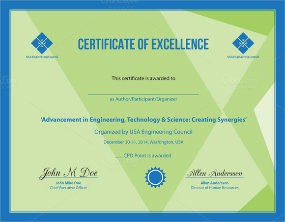 9 certificate of excellence templates samples examples format certificate of excellence wording yelopaper Image collections