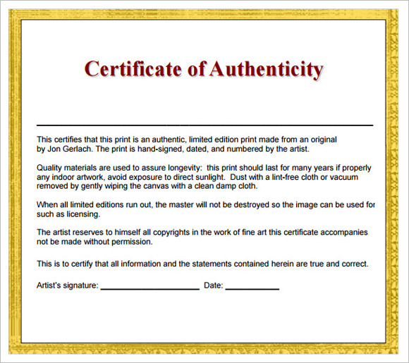 Sample Certificate Of Authenticity  Documents In Pdf Psd