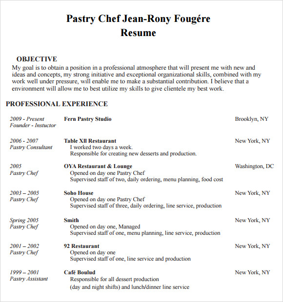 Chef Resume   Free Samples Examples Format