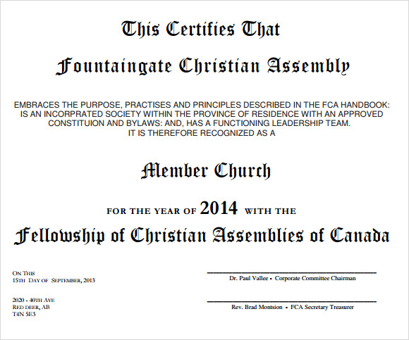 Membership Certificate Template 9 Free Sample Example Format – Church Bylaws Template
