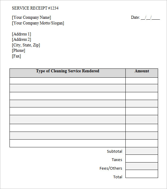 Service Receipt Template 8 Free Samples Examples Format – Cleaning Service Receipt