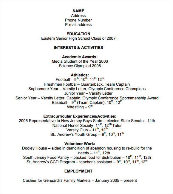 Resume Template For College Application  High School Resume Template For College Application