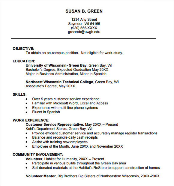college freshman resume template - College Resume Format