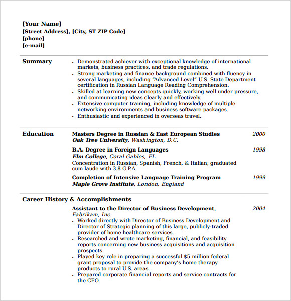College Resume Template Microsoft Word  College Resume Template Word