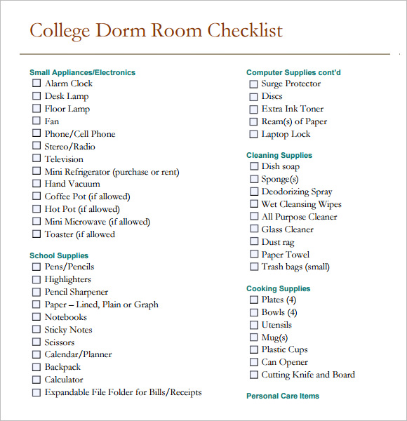 Sample Dorm Room Checklist  Documents In Pdf Word