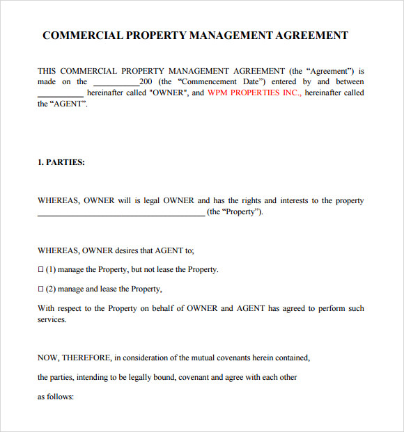 Property agreement template commercial property management agreement template accmission Images