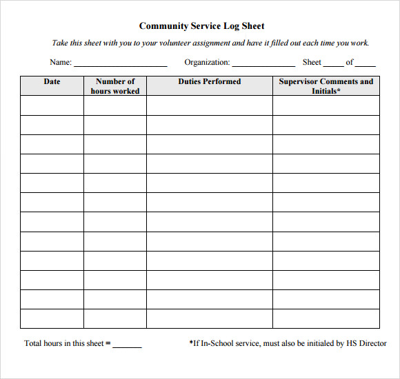 Free Log Sheet Template Community Service Hours Log Sheet Template