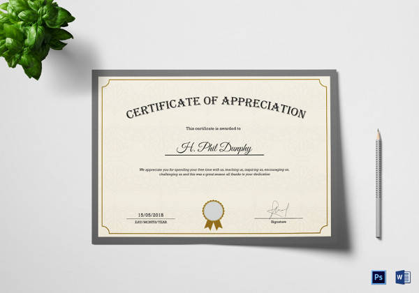 company appreciation certificate