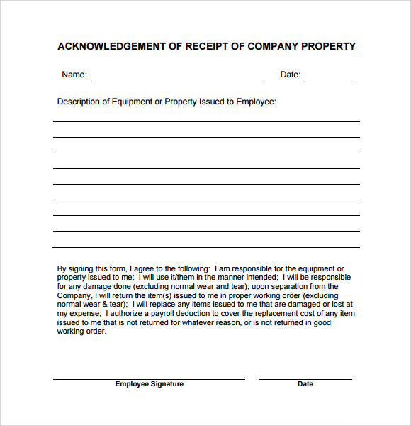 company property receipt template