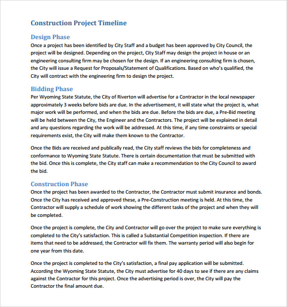 Sample Construction Timeline 5 Documents in PDF PSD – Construction Timeline Template