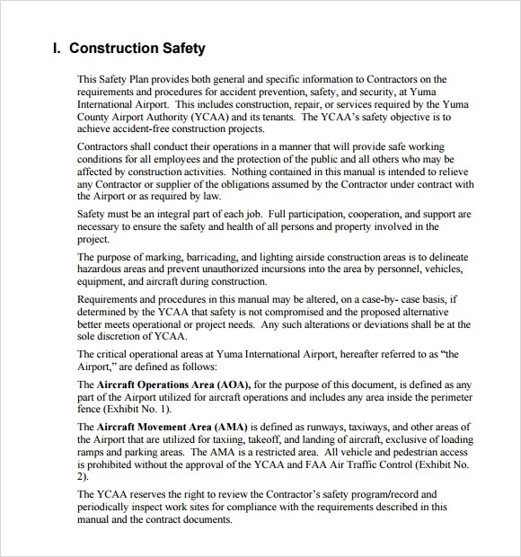 Sample Safety Plan Template   Free Samples Examples Format