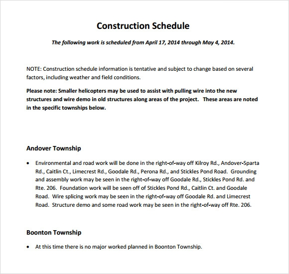 Sample Construction Timeline   Documents In Pdf Psd