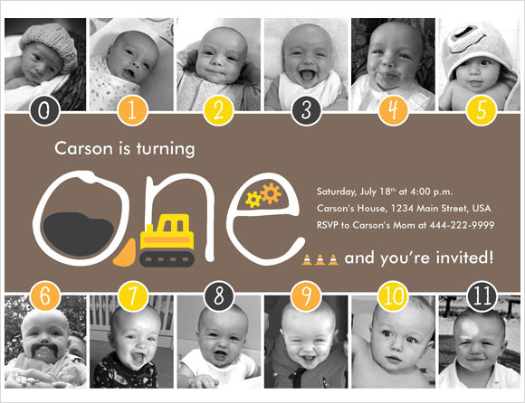 construction timeline first birthday invitation