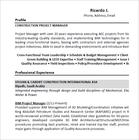 construction project manager resume sample pdf