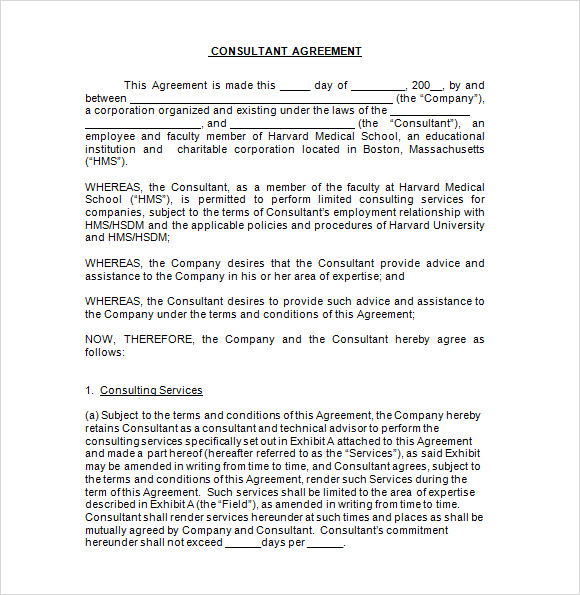 Sample Consultant Agreement - 6+ Documents In Pdf, Word