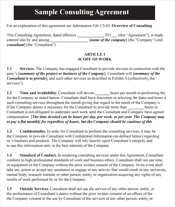Consultant agreement template free cheaphphosting Images