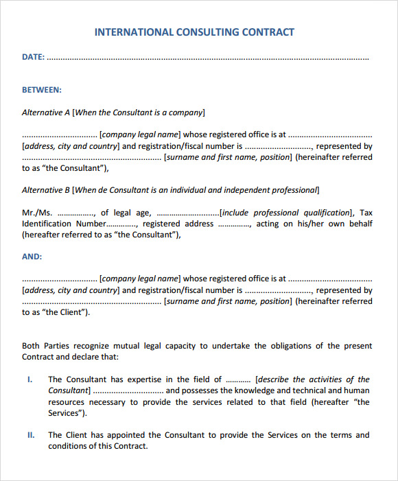 Sample Consultant Agreement 6 Documents in PDF Word – Consultant Contract Template