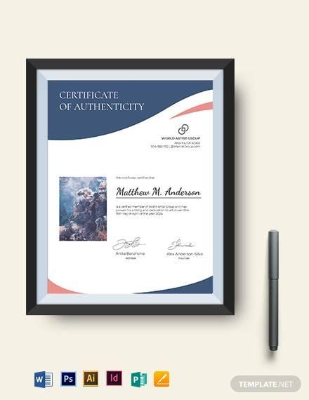 creative artist authenticity certificate template