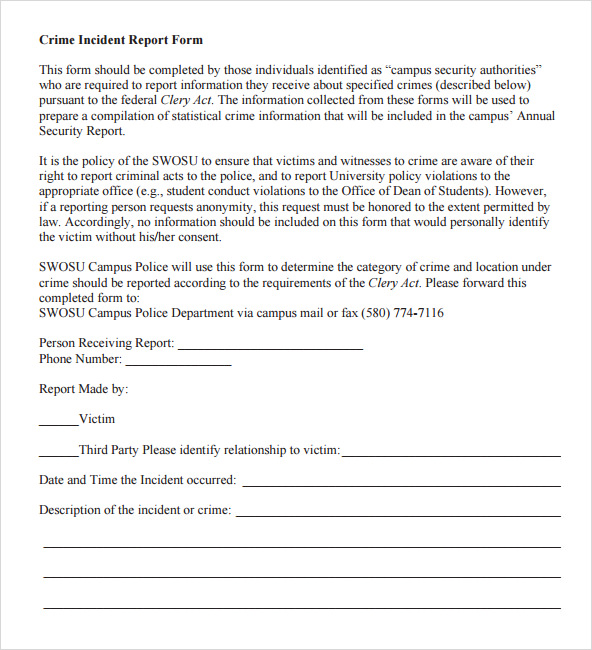Crime Incident Report Template  Police Report Format Template
