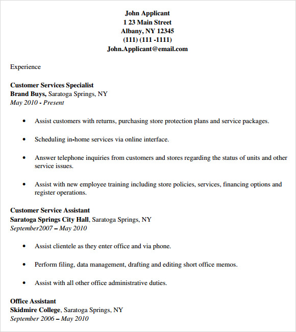 8 Customer Service Resume Templates Free Samples