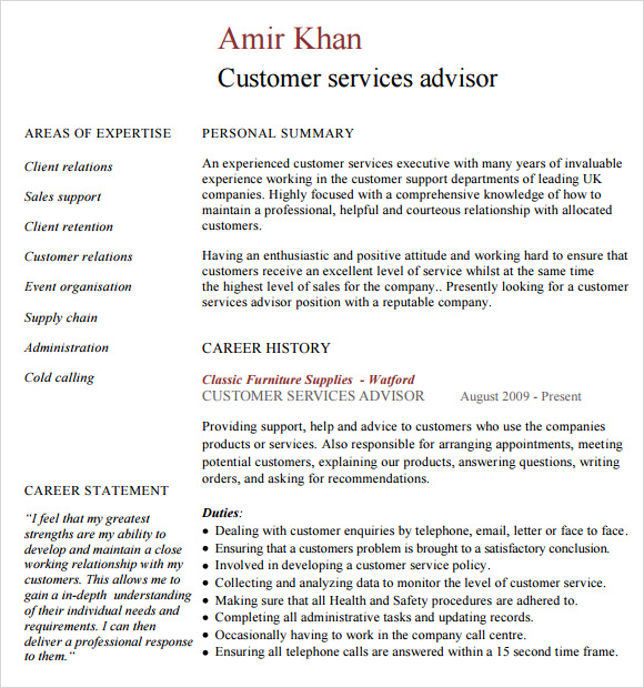 8 customer service resume templates free samples for Free resume examples for customer service