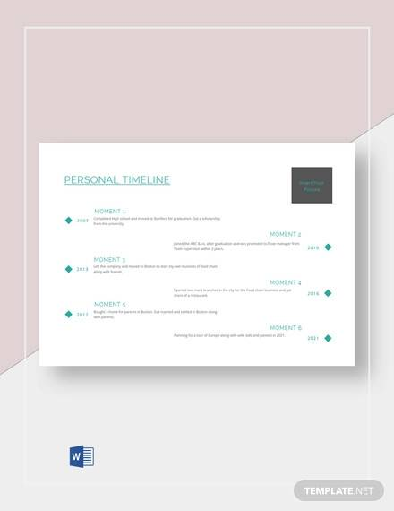 customized personal timeline template