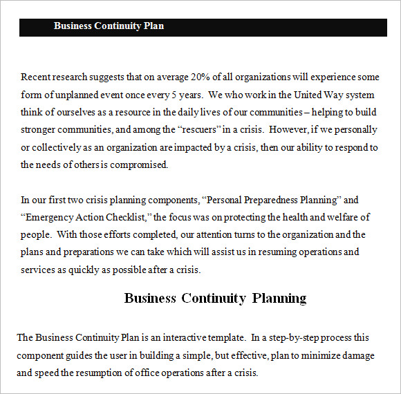 Doc638903 Business Contingency Plan Sample Contingency Plan – Sample Business Contingency Plan