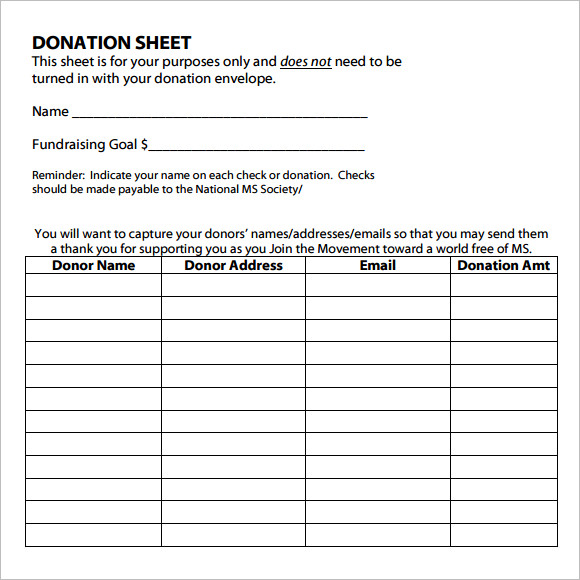 Sample Donation Sheet   Documents In Pdf Word