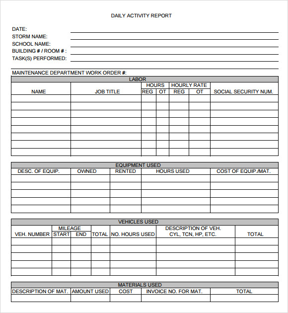 Employee Daily Activity Report Template  ComingoutpolyCo
