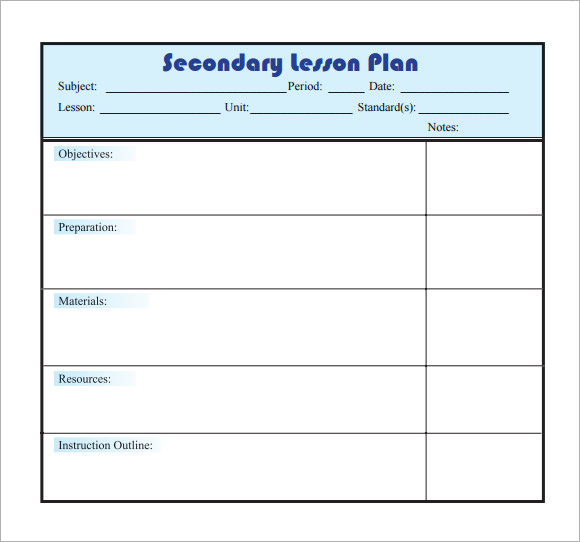 Sample Lesson Plan   Documents In  Word