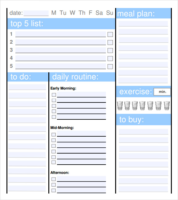 Sample Planner Template  Daily Planning Template