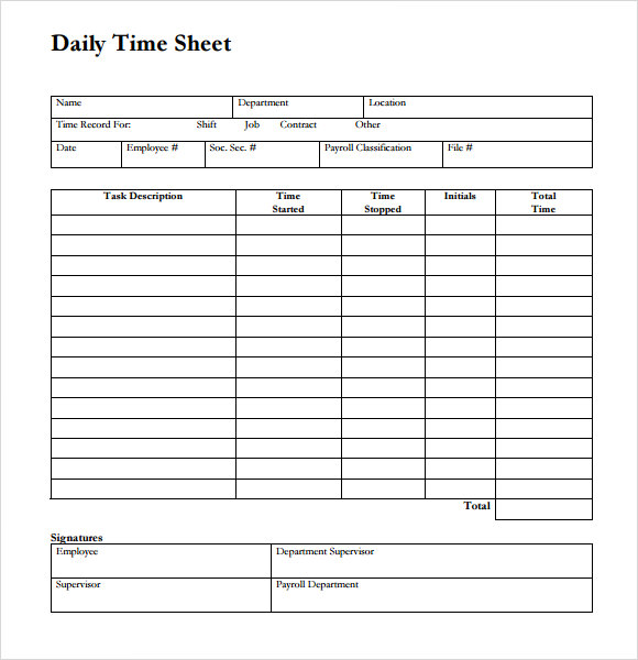 Daily Timesheet Template Free - Time card template