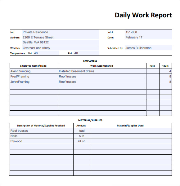 Daily Work Report Template - Weekly work progress report template