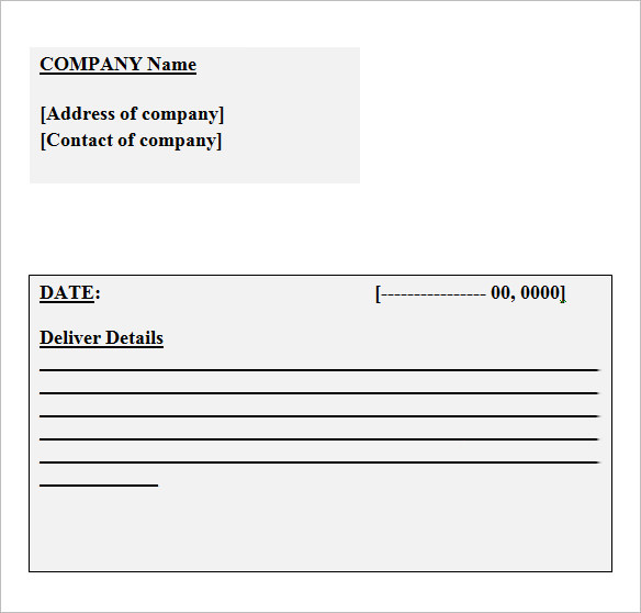 Sample Business Receipt. Delivery Receipt Template  Company Receipt Template