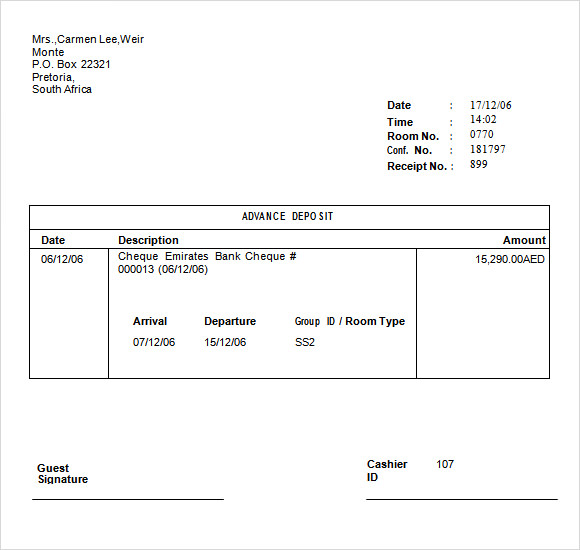 8 Deposit Receipt Templates Free Samples Examples Format – Receipt Example Template