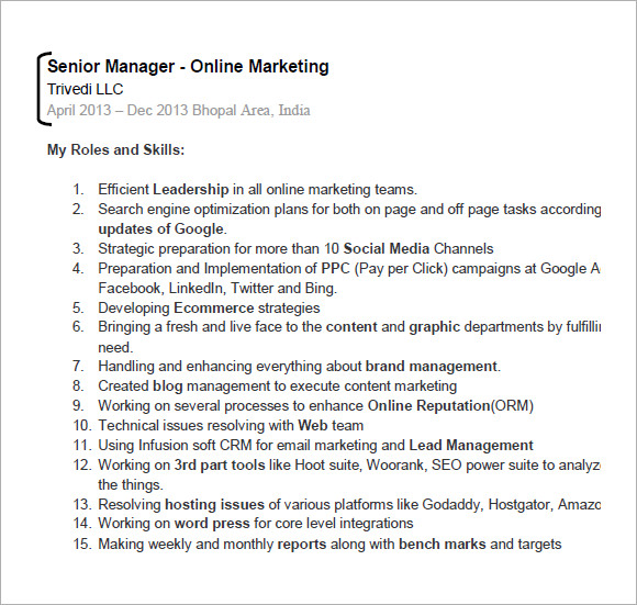 seo resume templets 6 free sles exles format