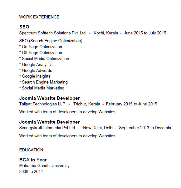 7 seo resume templates samples examples format sample templates