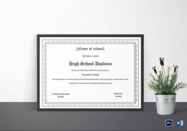 diploma completion certificate for high school template