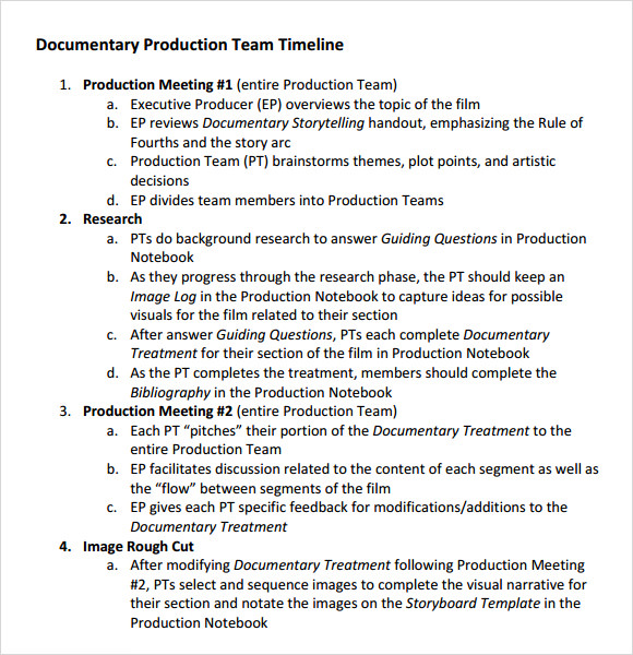 documentaryproductionteamtimeline