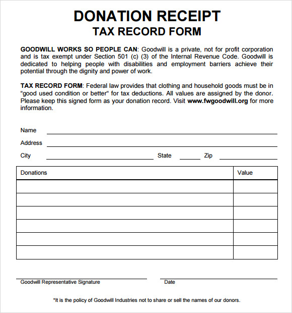 Donation-Receipt-Tax-Deduction-Form Tax Donation Letter Template on id number, printable church, write off, thank you for your, for elks,