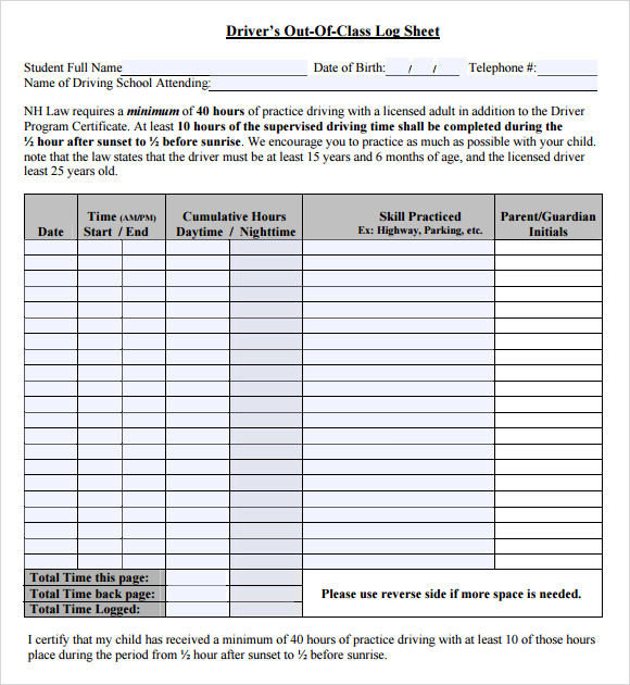 Driver Log Sheet Template  Printable Fax Sheet
