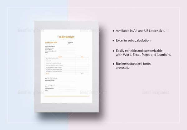 easy to edit salary receipt template download
