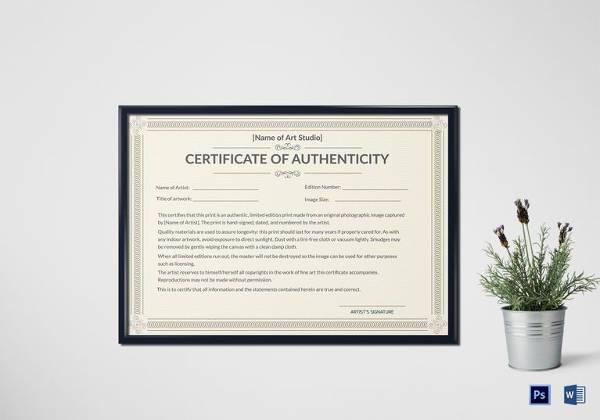 editable authenticity certificate template