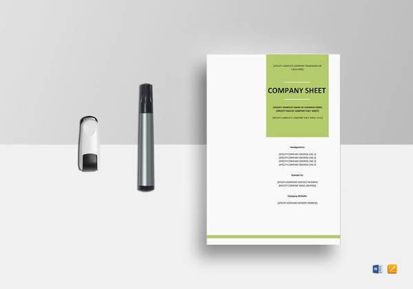 editable company fact sheet template