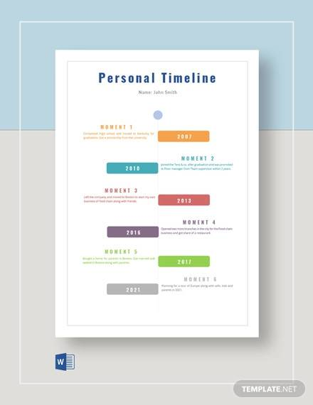 editable personal timeline template