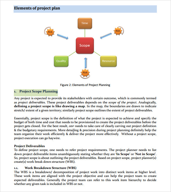 elements of project plan template