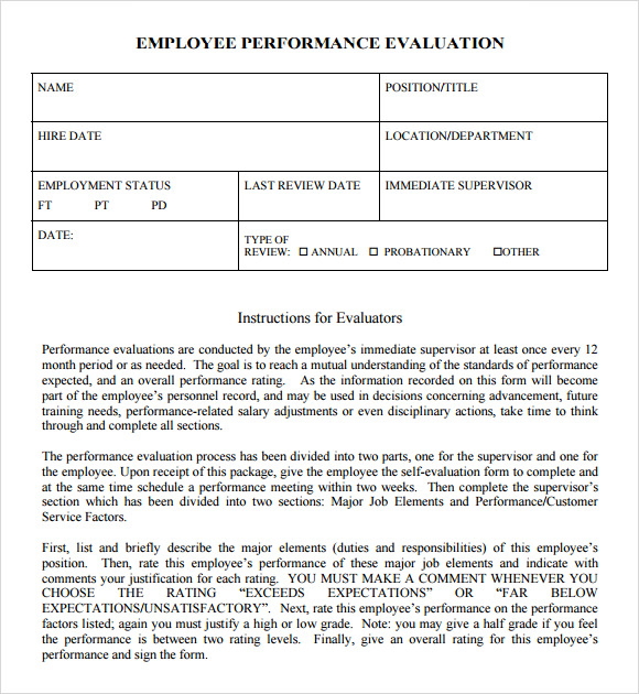 8 performance evaluation samples templates examples sample templates for Evaluation templates for employees
