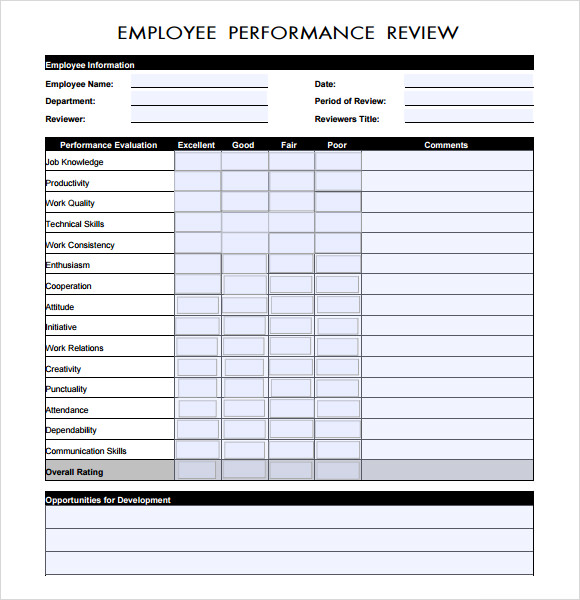 Sample Performance Evaluation 7 Documents In PDF Word – Performance Review Sample