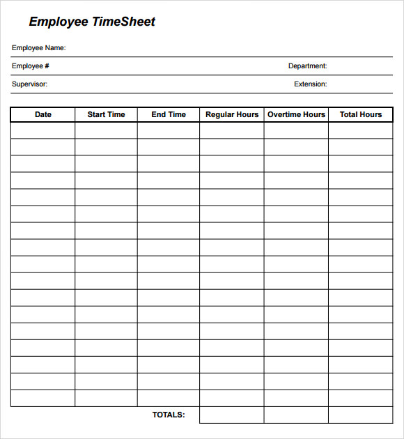 24 Sample Time Sheets Sample Templates