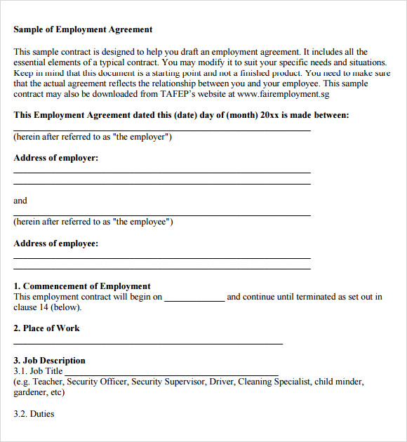 Free 8 Sample Employment Agreements In Pdf Word